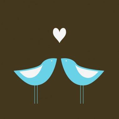 Two cute birds in love. stock vector