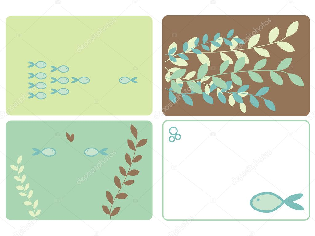Fish and leaves designs