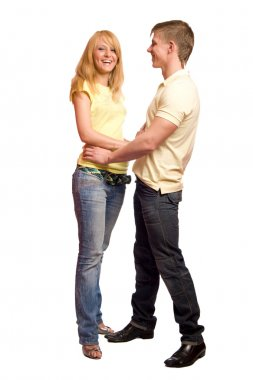 Young blond beautiful couple going to kiss isolated on white stock vector
