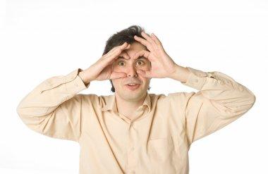 A man staring at something