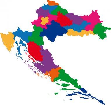 Colorful Croatia map