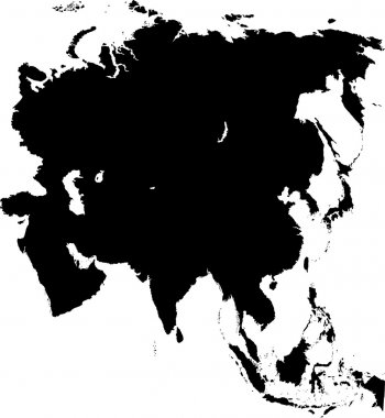Black Asia map without country borders stock vector