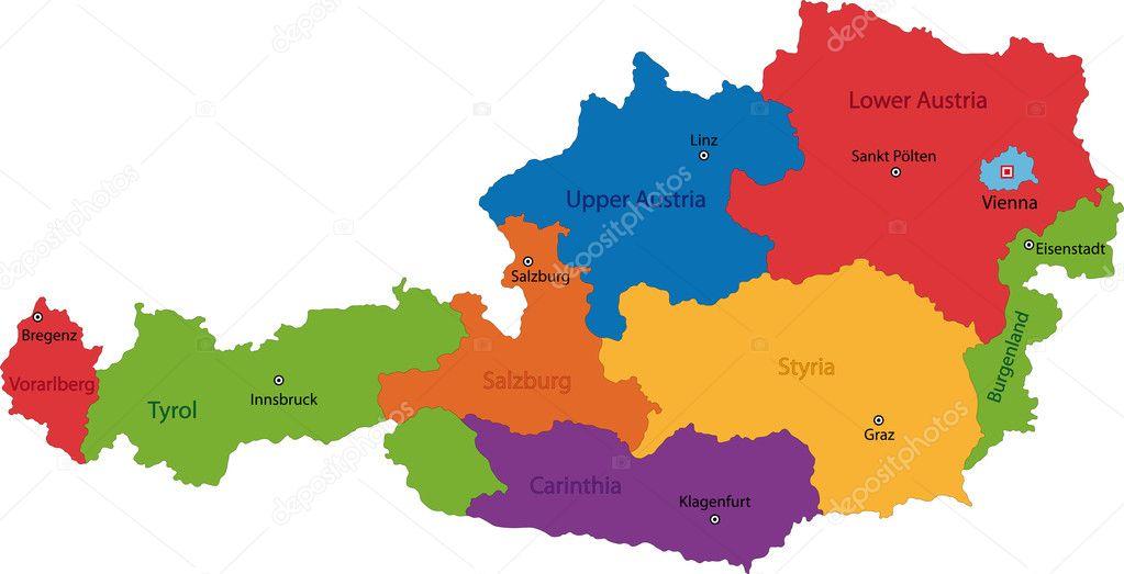 Austria map Stock Vector Volina 1142475