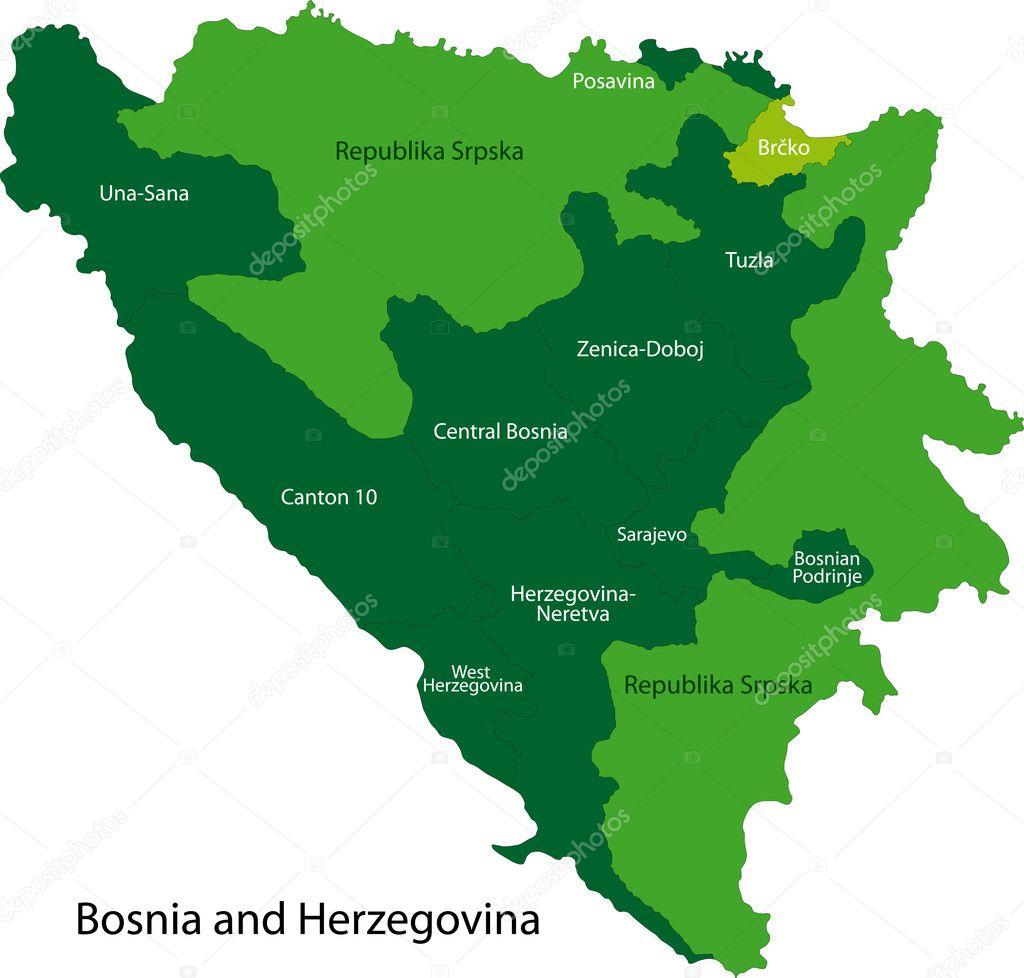 karta bosnien och hercegovina Bosnien och Hercegovina karta — Stock Vektor © Volina #1143148 karta bosnien och hercegovina