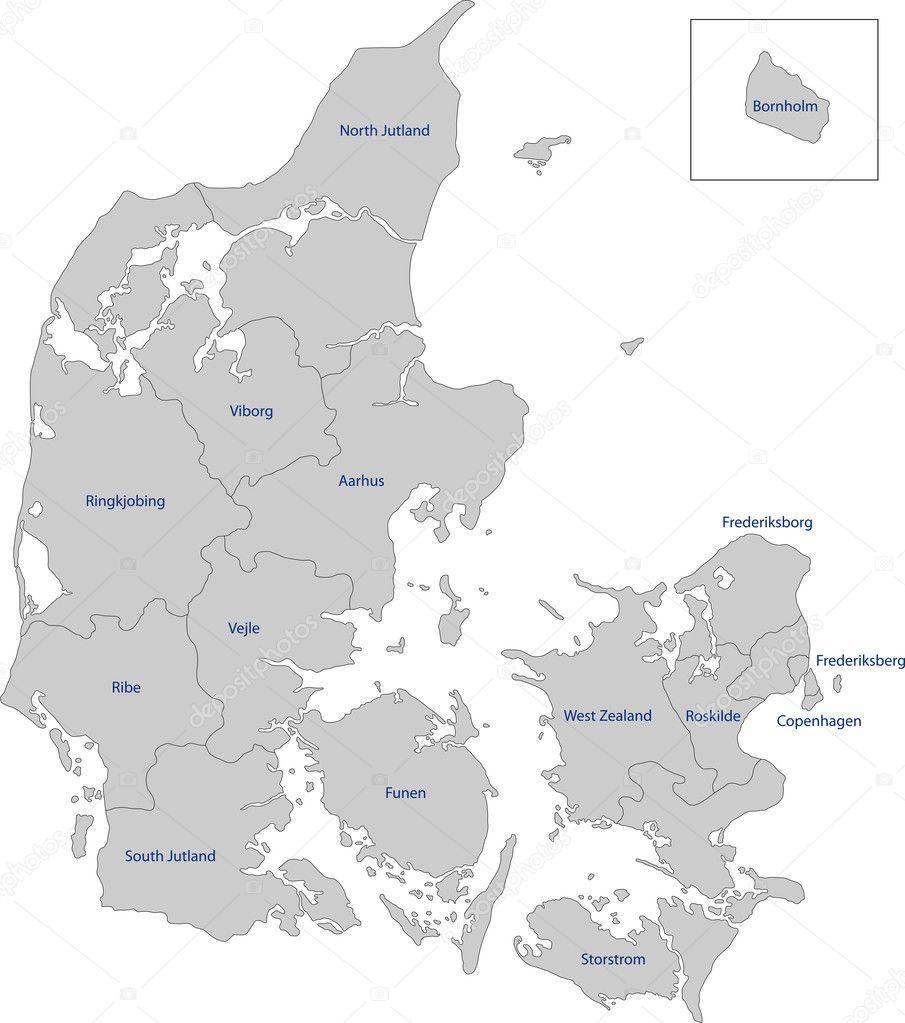 デンマーク地図 — ストックベク...