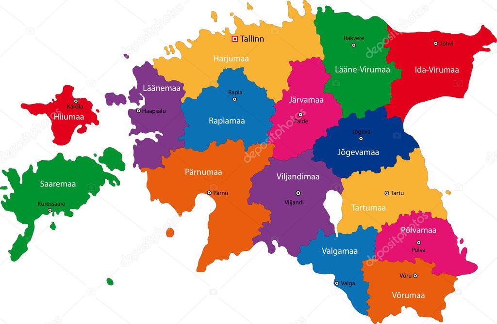 Estonia Map Stock Vector Volina - Estonia map download