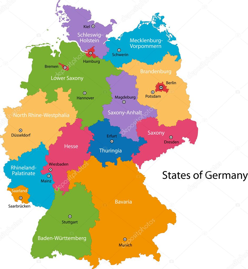 colorful germany map with regions and main cities vector by volina
