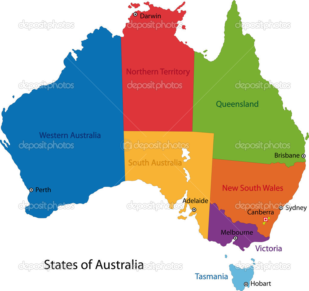 colorful australia map with regions and main cities vector by volina
