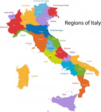 Colorful Italy map