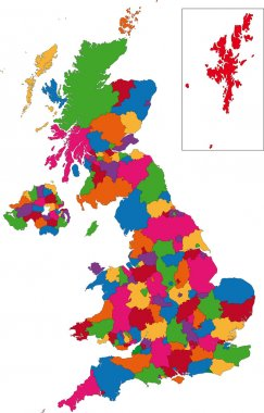 Colorful United Kingdom map