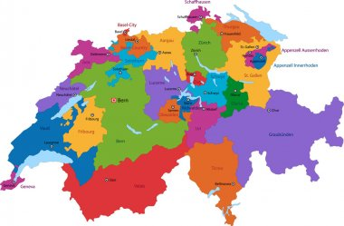 Colorful Switzerland map
