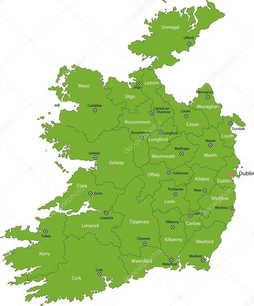 Republic Of Ireland Map Stock Vector Volina - Ireland map download