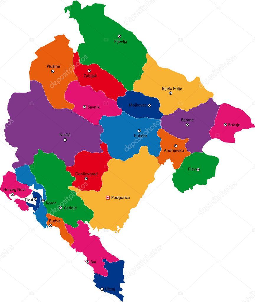 Vector Montenegro Map Stock Vector Volina - Montenegro map download