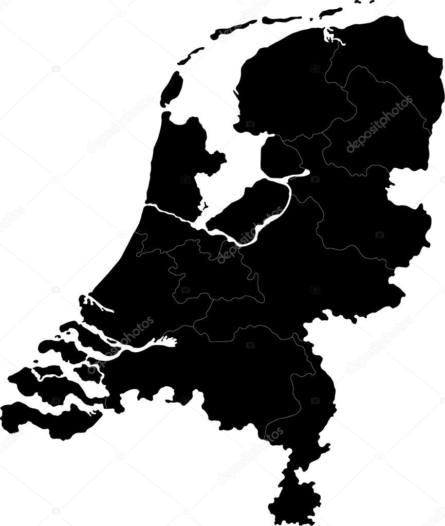 Black Netherlands Map Stock Vector Volina - Netherlands map
