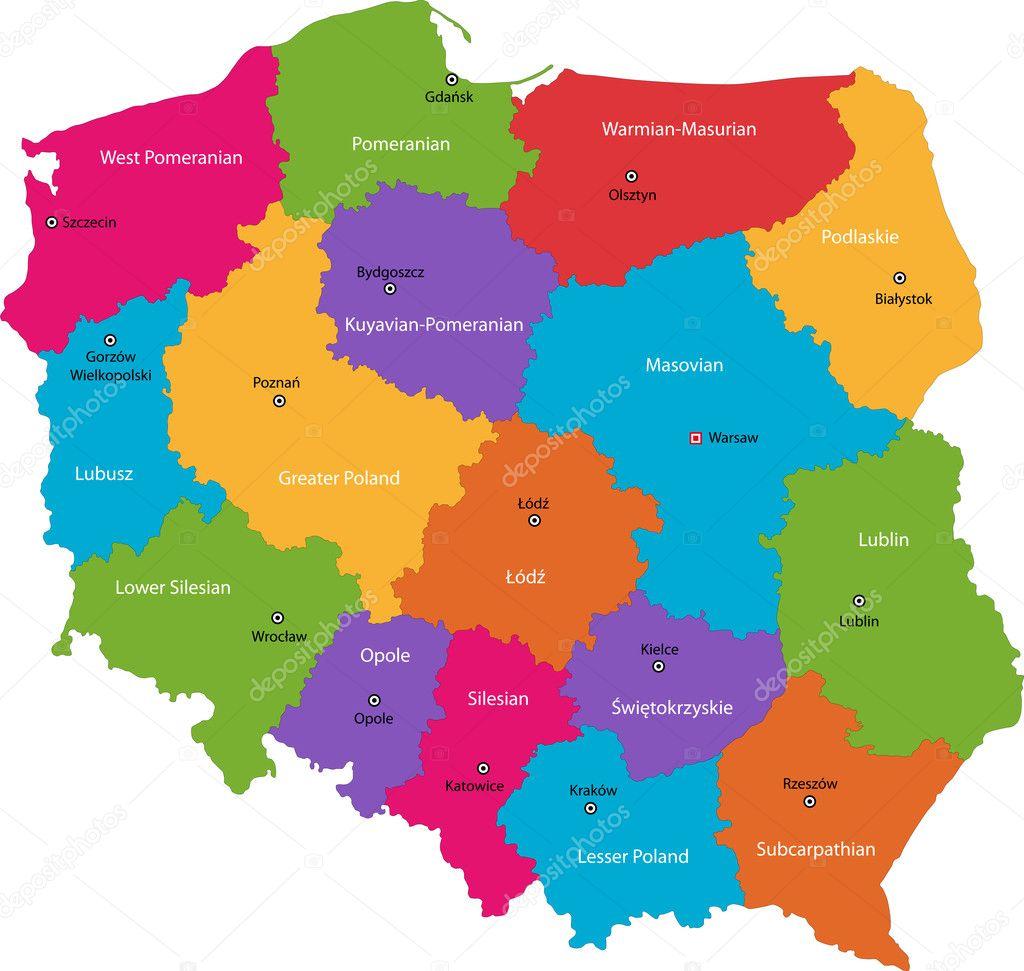 color poland map — stock vector . color poland map — stock vector © volina