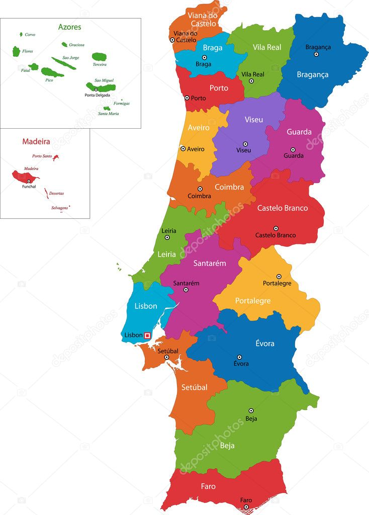 mapa de portugal 2005 mapa de Portugal — Vetor de Stock © Volina #1173195 mapa de portugal 2005