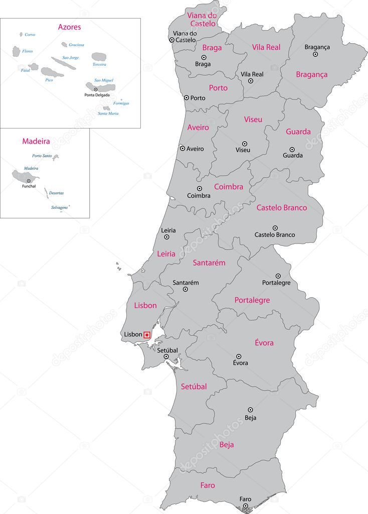 Portugal Map Stock Vector Volina - Portugal map