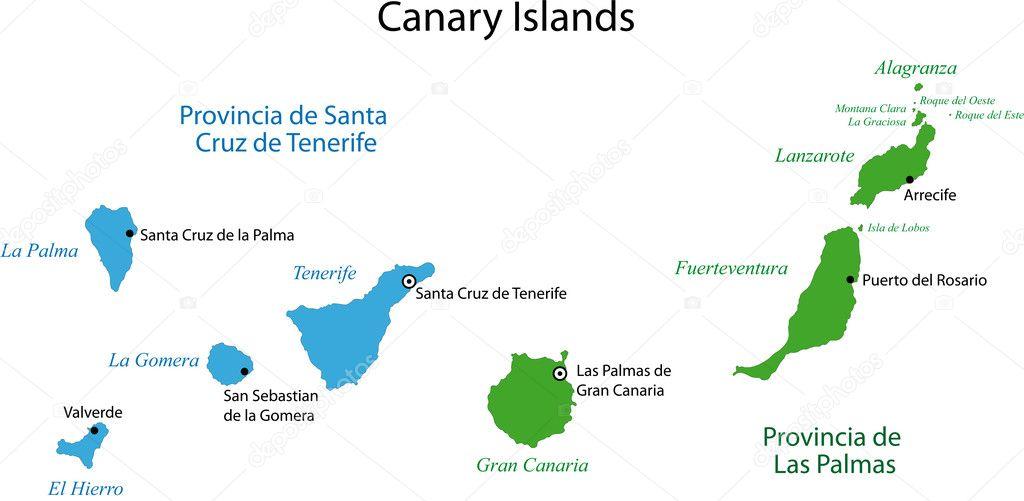 Spanische Inseln Karte.Kanarische Inseln Karte Stockvektor Volina 1173259