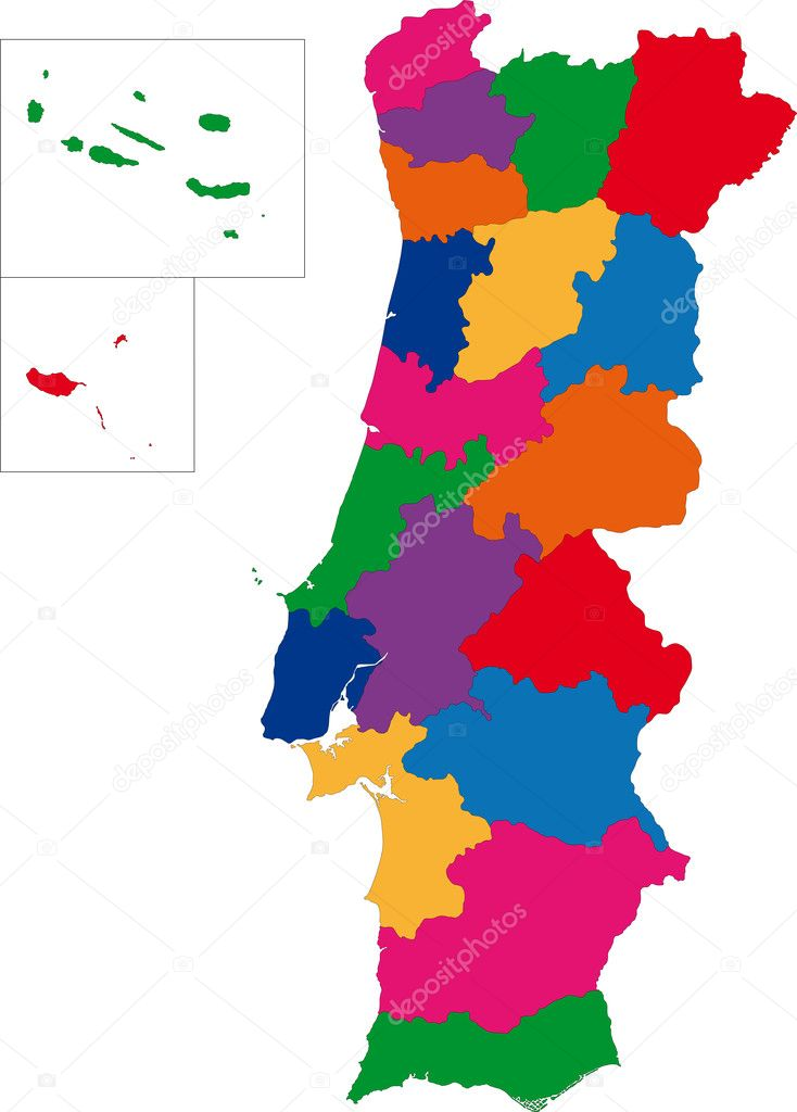 Colorful Portugal Map Stock Vector Volina - Portugal map vector