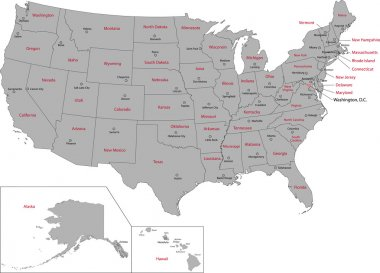 Gray USA map