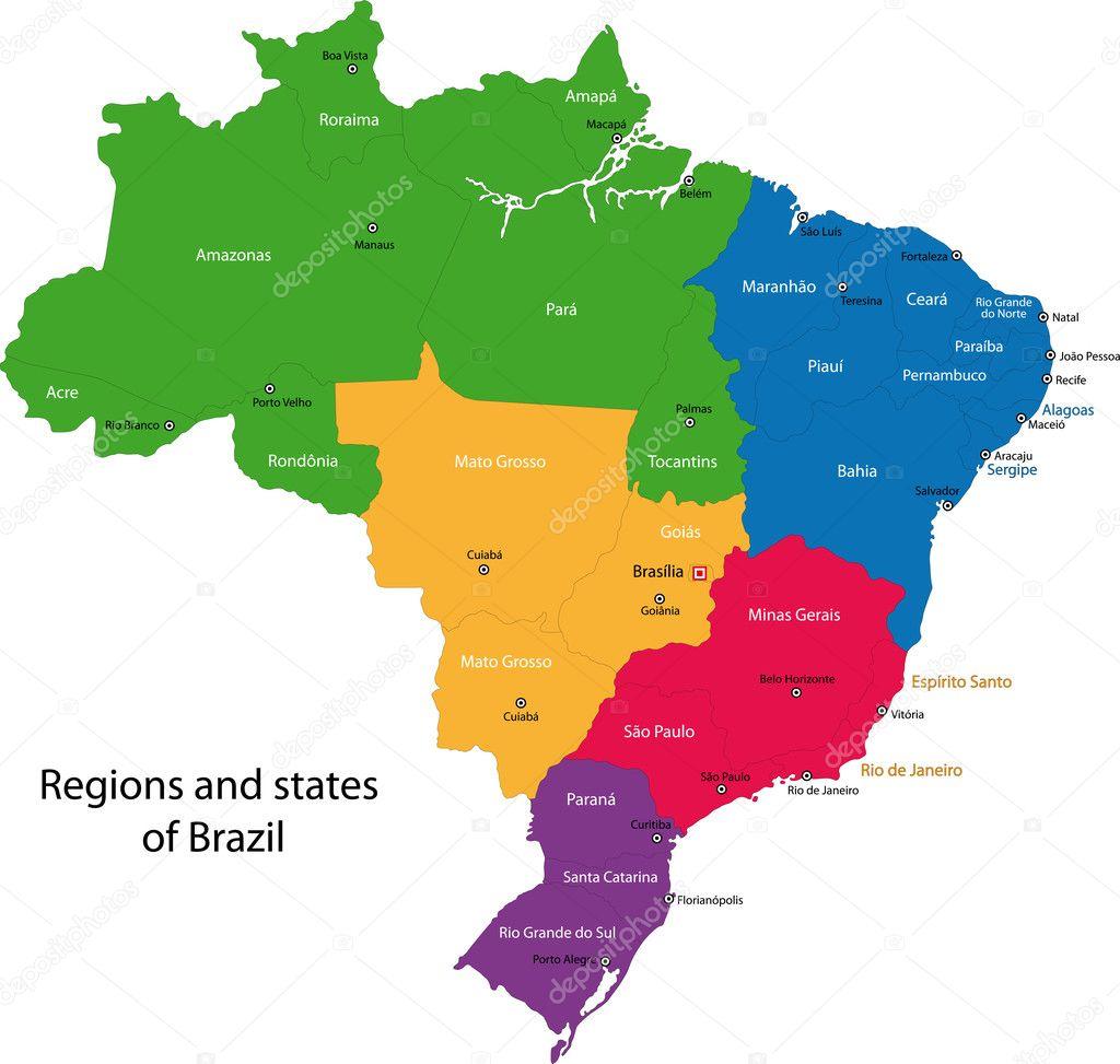 Brazil map — Stock Vector © Volina #1205061