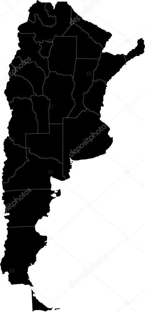 Black Argentina Map Stock Vector Volina - Argentina map vector
