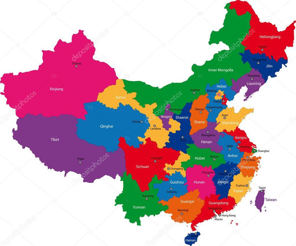Ciudades De China Mapa.Mapa China Provincias Y Ciudades Mapa De China Vector De