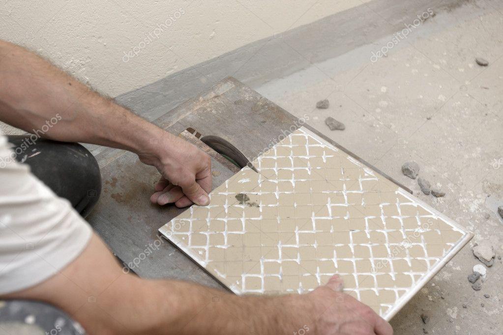 Cutting Floor Tiles Stock Photo Achubykin 1052061