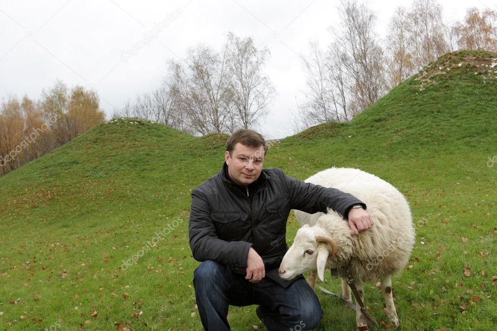 Man and sheep