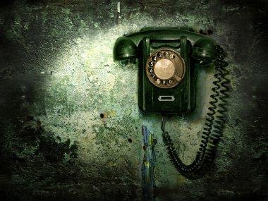 "Картина, постер, плакат, фотообои ""старый телефон на разрушенной стене "", артикул 1031452"