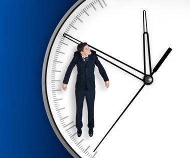 Businessman hangs on an arrow of clock