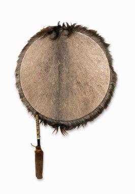Ethnic tambourine, isolated on white bac