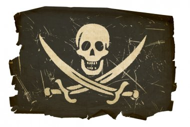 Pirate flag old, isolated on white backg