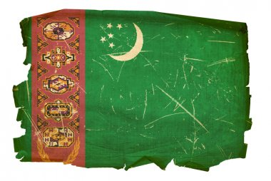 Turkmenistan Flag old, isolated on white