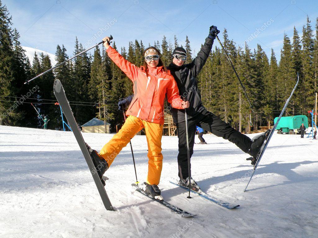 Couple on Snow Skis