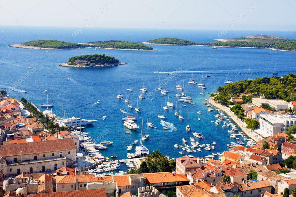 Nice view of port on Hvar island