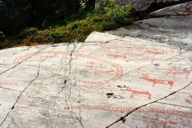 """Картина, постер, плакат, фотообои """"древняя наскальная резьба в альте, норвегия """", артикул 1137461"""