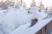 Fotografia camino invernale fumatori