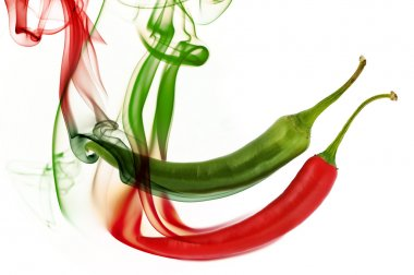 Hot chili pepper with smoke