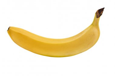 One ripe banana on white background