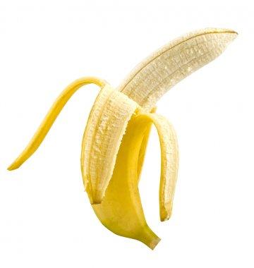 One open ripe banana on white background