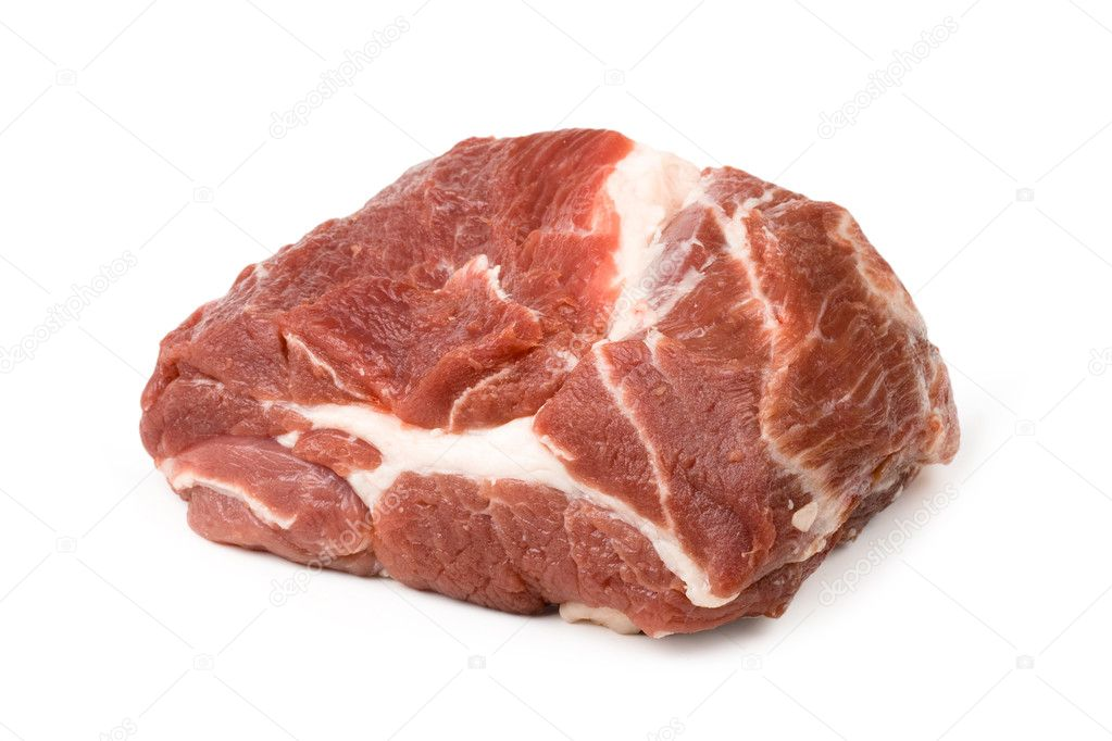 Piece of fresh meat on white background