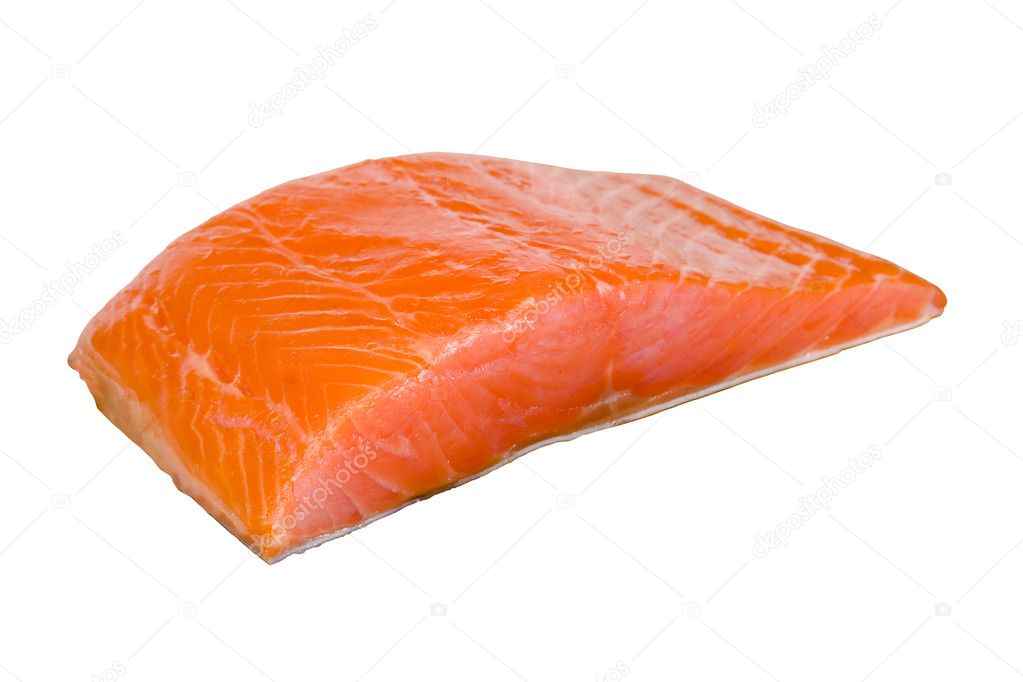 Salmon fillets on a white background