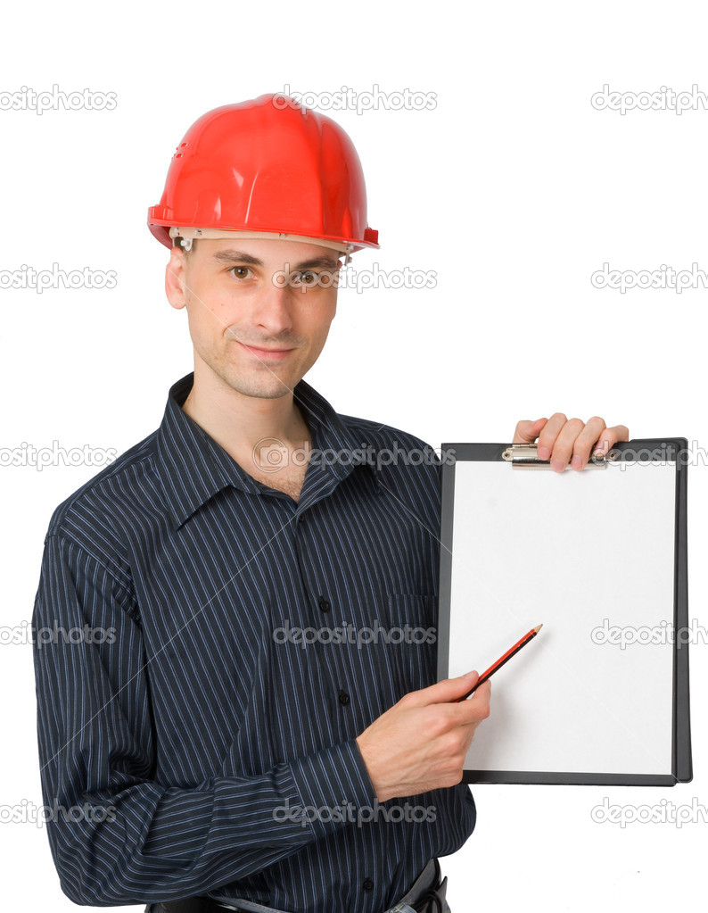 Construction worker with a blank sign