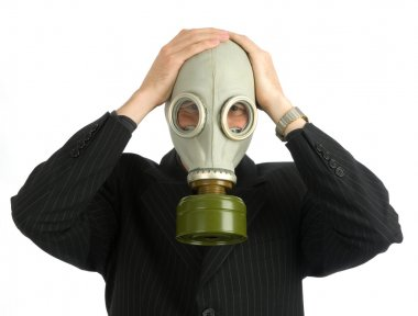 Man in a gas mask stock vector