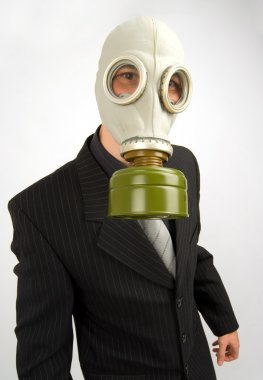 Business man in a gas mask