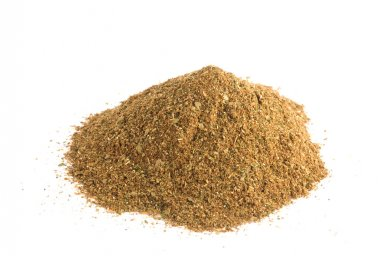 Heap of seasoning on white background