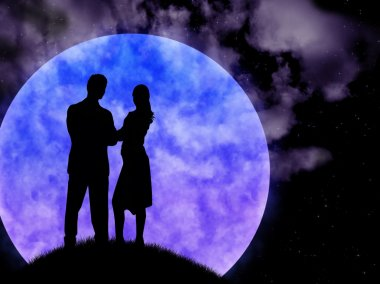 Lad with girl on background of the enormous moon and starry sky. stock vector