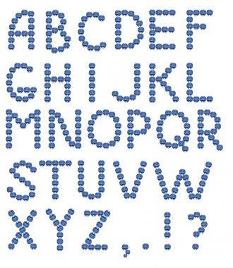 Full english alphabet made from blue glass balls. Object with clipping path stock vector