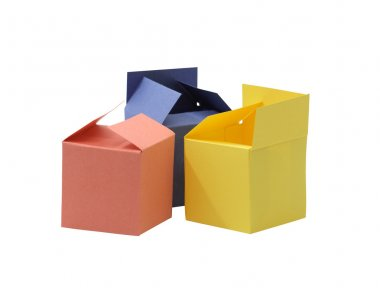 Three colored paper boxes on white background isolated with clipping path stock vector